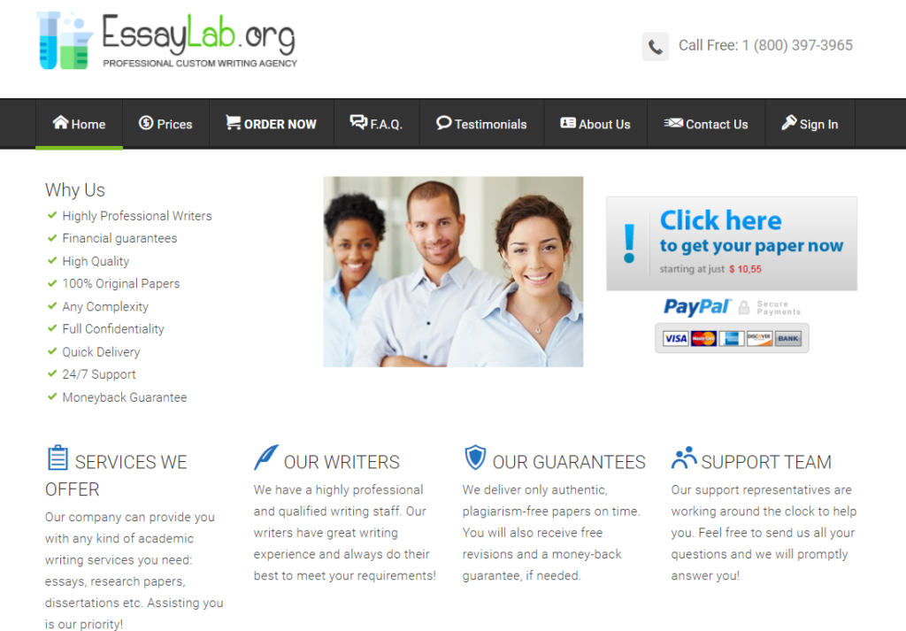 Screenshot of Essaylab.org Main Page