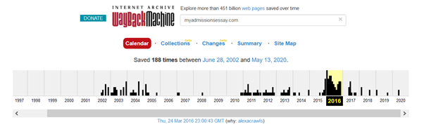 Screenshot of web.archive.org where you can see when the site(myadmissionsessay.com) was first seen on the internet.