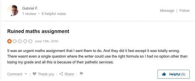 1-star review on SiteJabber