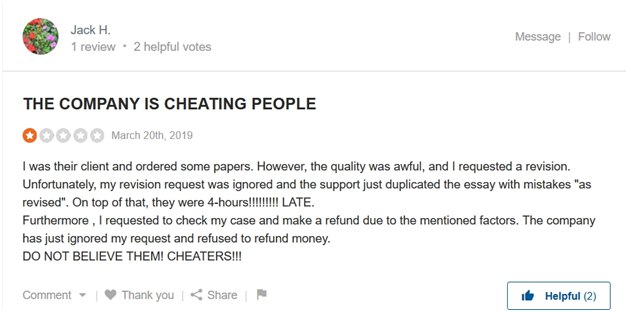 1-star review, where a person accuse the company in cheating