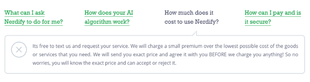 Answer to the question about costs