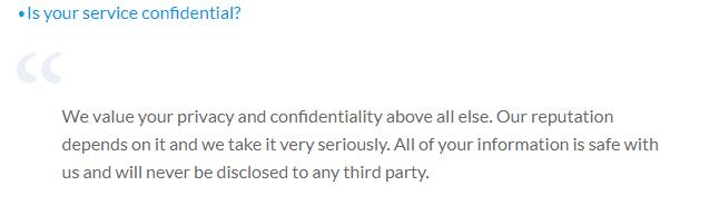 Confidentiality guarantee