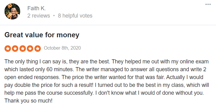 A review from a customer Source: sitejabber.com