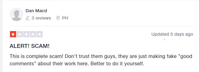 TrustPilot negative review