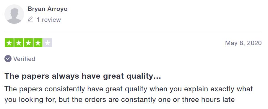 A customer's review Source: trustpilot.com