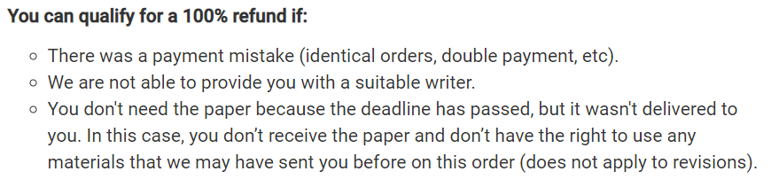 It's not clear whether or not you can get a 100% refund if you get your paper too late Source: speedypaper.com