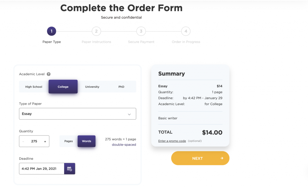 Process of ordering (step 1)