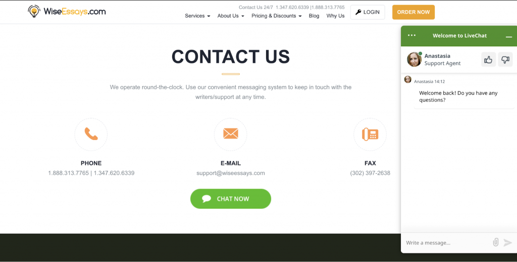 "Online chat box at ""Contact Us"" page"