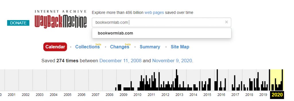 Bookwormlab statistics on webarchive.org