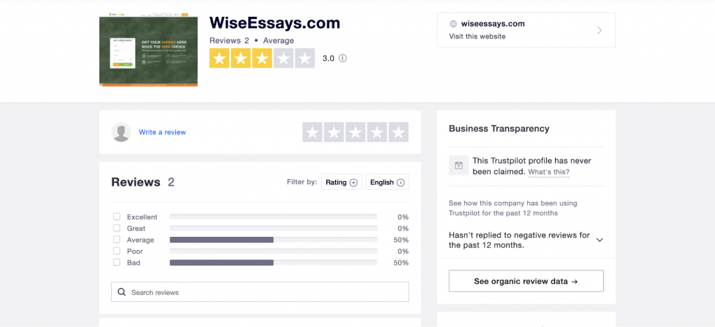 Site page on TrustPilot