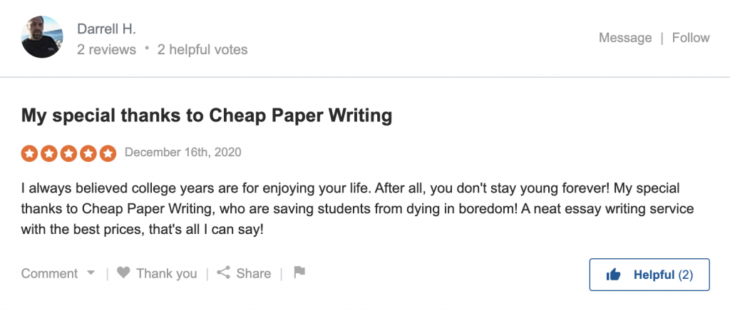 Review on Cheap Paper Writing  on Sitejabber