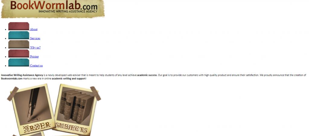 Bookwormlab website in 2009
