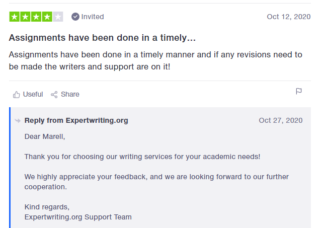 Answer from ExpertWriting.org to review