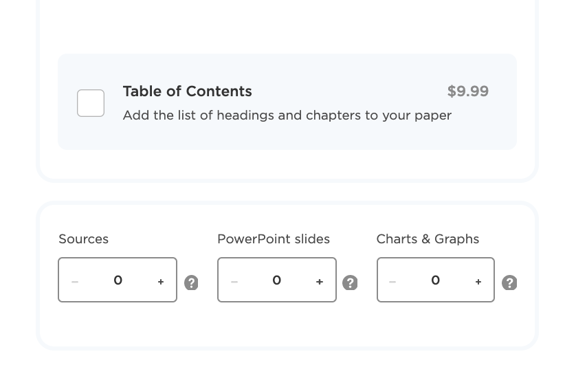 Specify the number of sources, PowerPoint slides and Charts