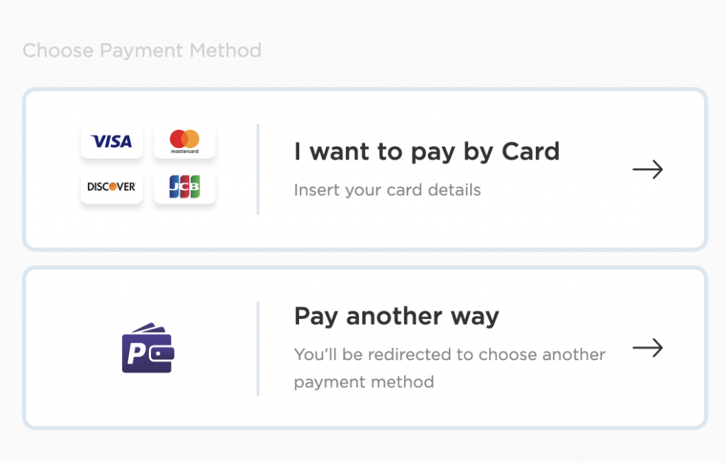 Types of payment accepted