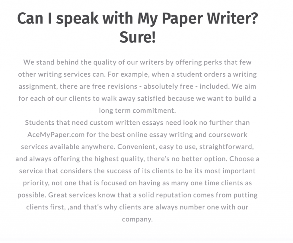 Ace My Paper offers free revisions to those who have ordered work on the website