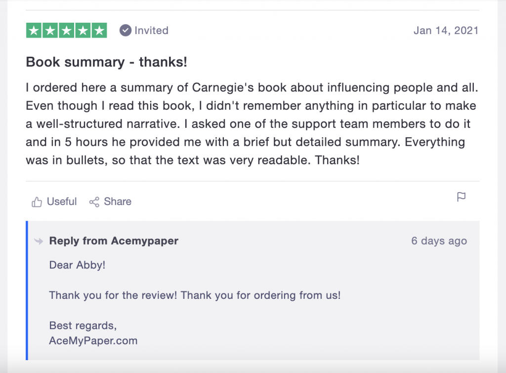 Ace My Paper quality control service replies to all reviews on Trustpilot