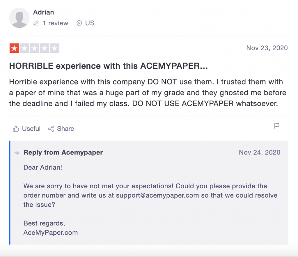 Negative AceMyPaper review on Trustpilot