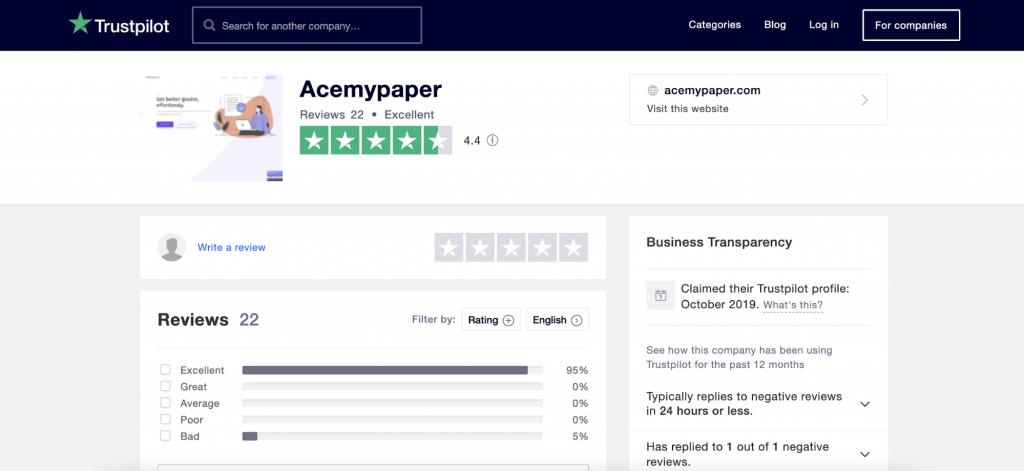 Ace My Paper on Trustpilot