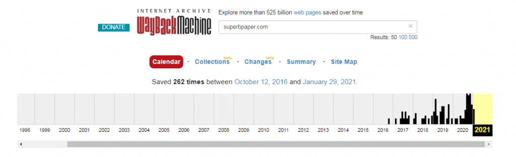SuperbPaper statistics on webarchive.org