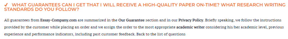 Unfortunately, the Our Guarantee section is empty
