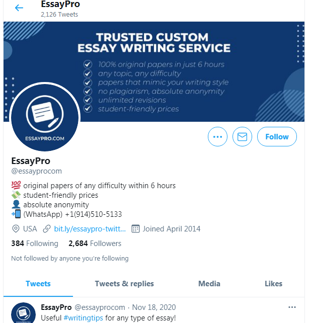 The company's profile on Twitter