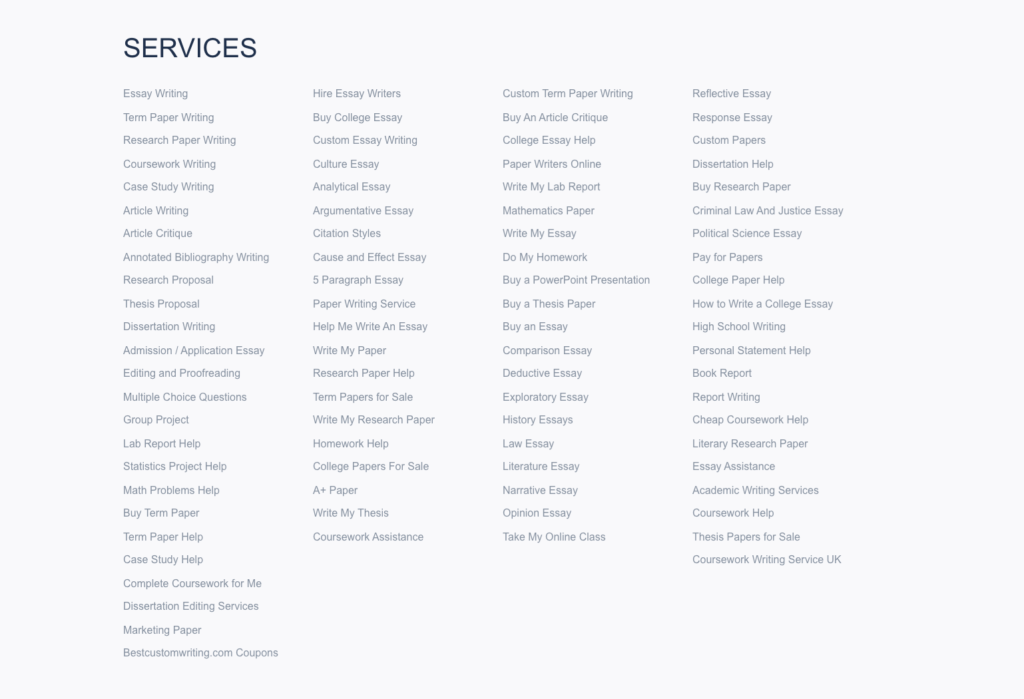Types of services available