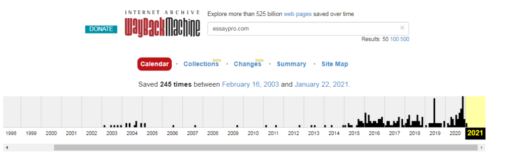 EssayPro statistics on webarchive.org
