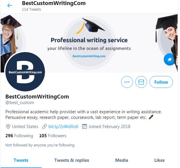 BestCustomWriting account on Twitter