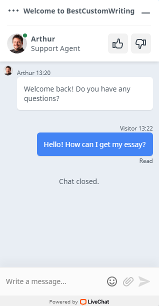 Online chat with customer support manager #1