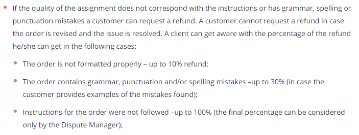 Refund policy for low-quality papers