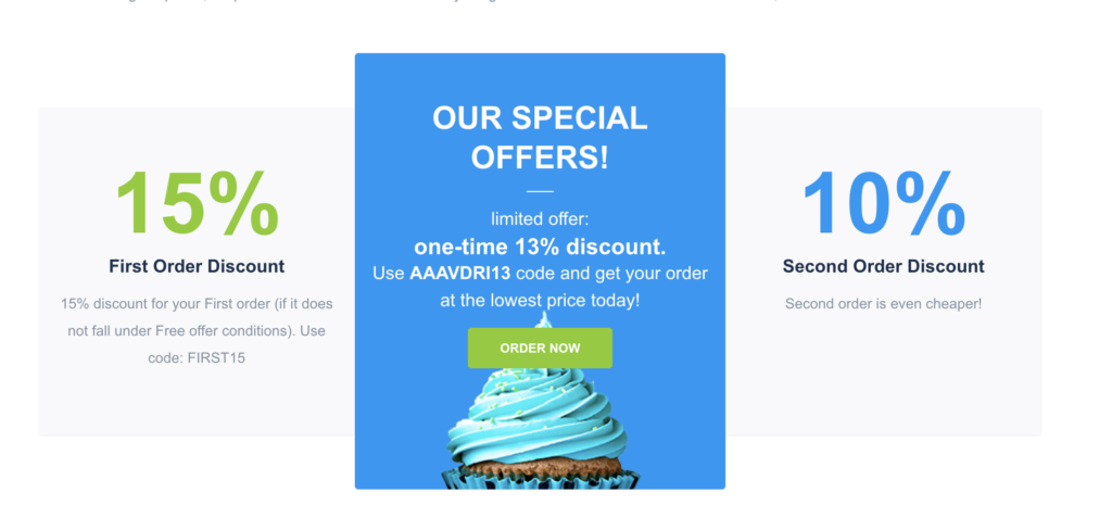Discounts available for the first and the second orders