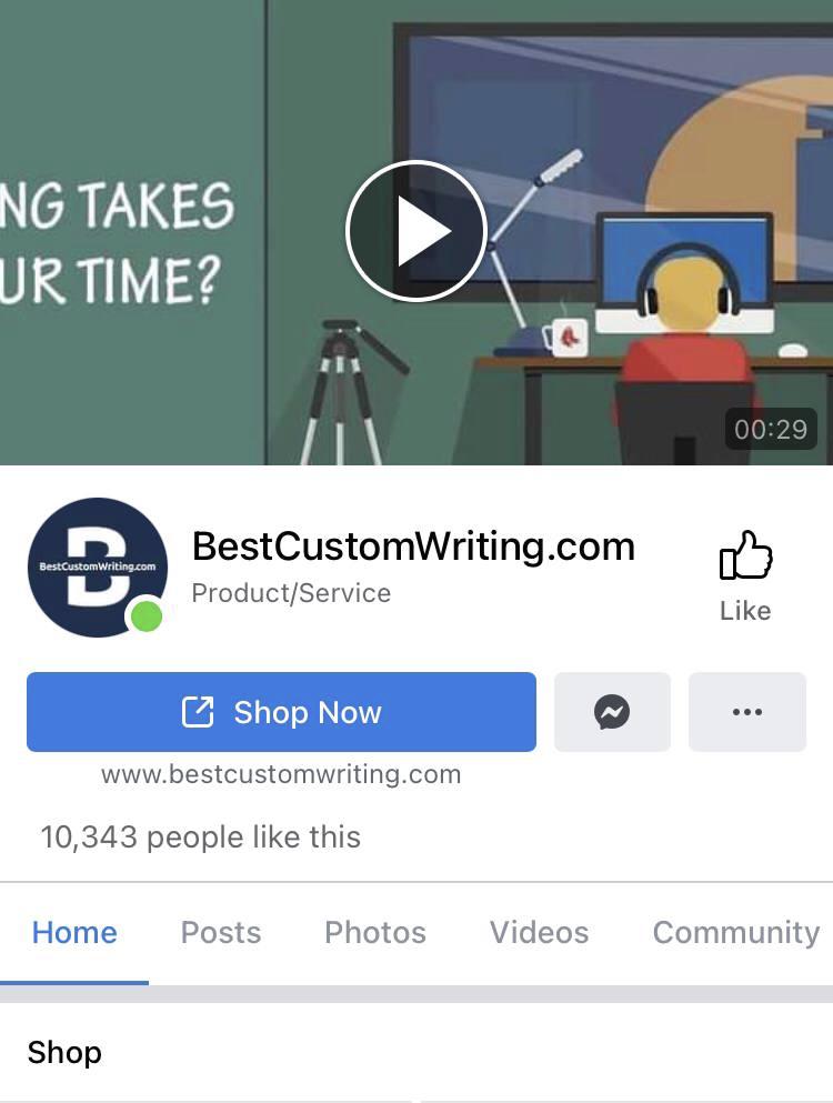 BestCustomWriting account on Facebook