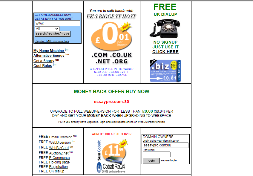 The website in 2003