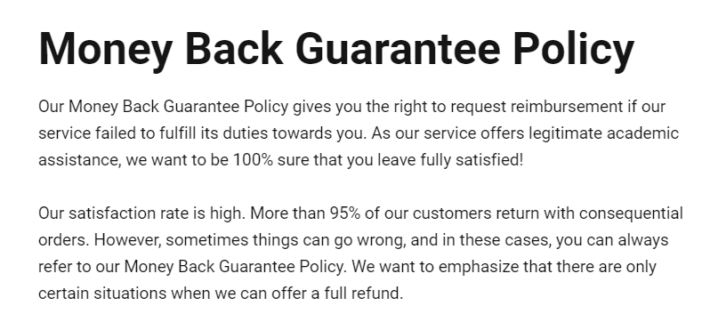 Money-back policy