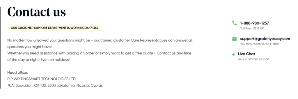 Ways of contacting the customer support team