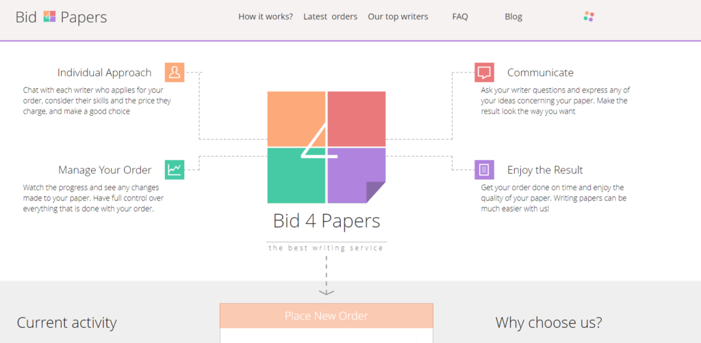 Bid4Papers com start page in 2014