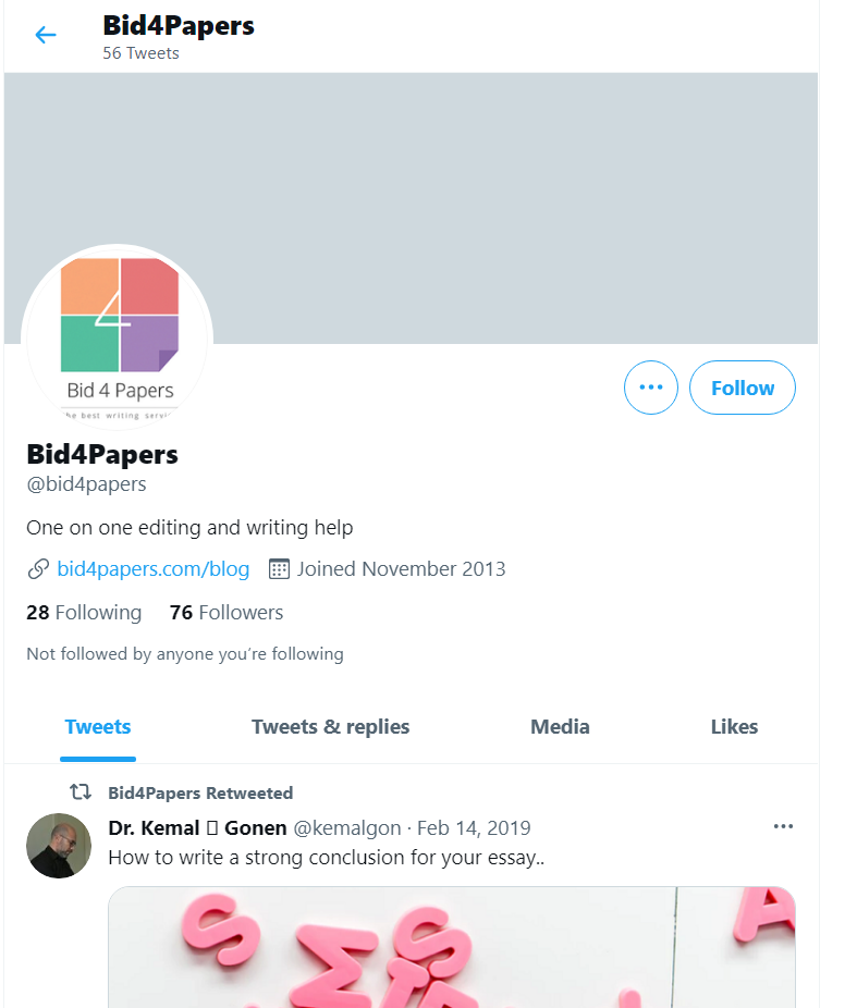 Bid4Papers account on Twitter