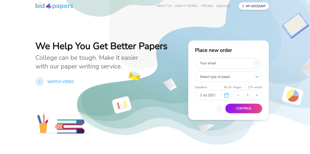 Bid4Papers.com start page
