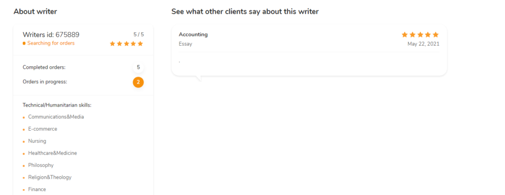Writer's profile