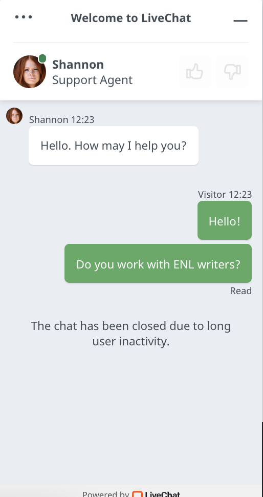 The chat with the PaperCoach customer support
