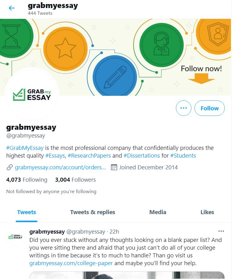 GrabMyEssay com on Twitter