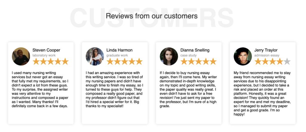 Customers' reviews on Nursing Essay Writing
