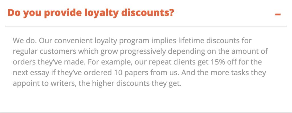 Discounts for the Essay Homework Help regular customers