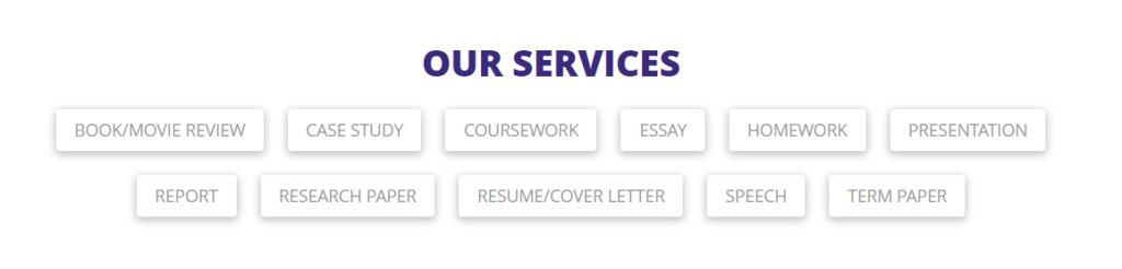 Types of available services on the main page