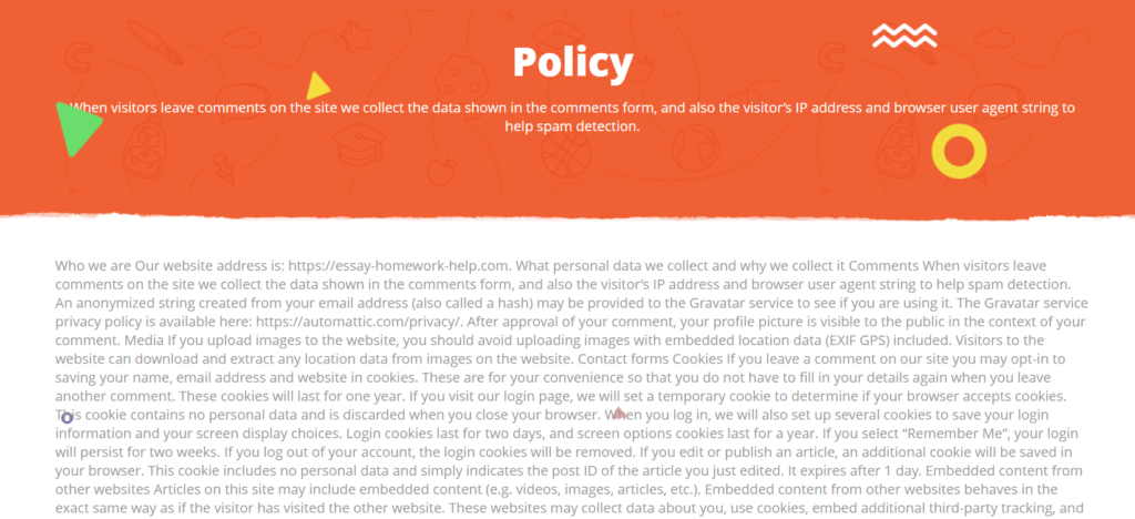 Privacy Policy on Essay-Homework-Help com