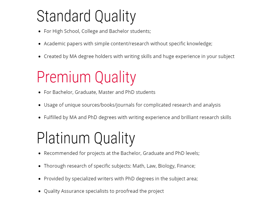 Types of suggested quality